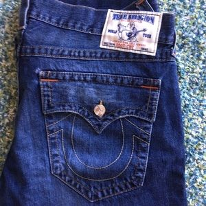 True Religion Men's Size 38 Bootcut Jeans W Flaps